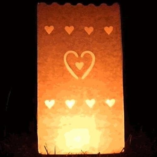 Candle Lantern Bags White Hearts
