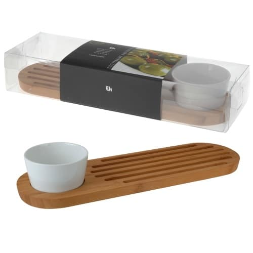 Bamboo And Porcelain Serving Set