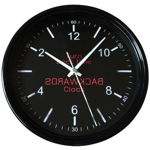 Backwards Wall Clock – Black