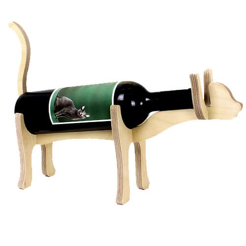 Animal Bones Wooden Bottle Holder – Cat