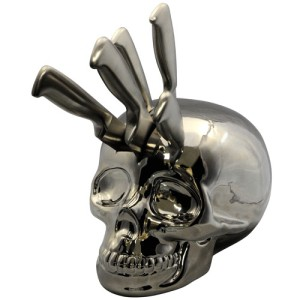 Skull Knife Block - Silver Chrome