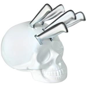 Skull Knife Block Set - White