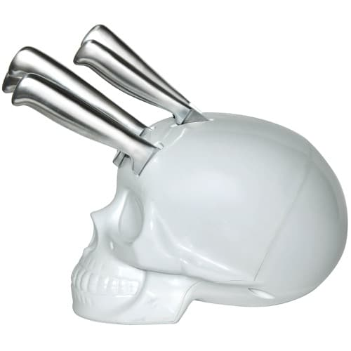 White Kitchen Knives skull knife block set – white - yuppie gadgets