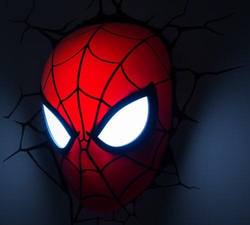 spider man mask 3d deco light yuppie gadgets. Black Bedroom Furniture Sets. Home Design Ideas