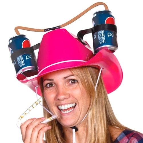 Pink Cowgirl Beer Hat