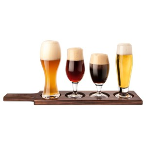 Beer Tasting Set with Dark Wood Holder