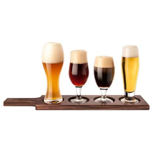 Beer Tasting Set with Dark Wood Holder