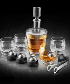 Stainless Steel Edition On The Rock Glass and Decanter Set