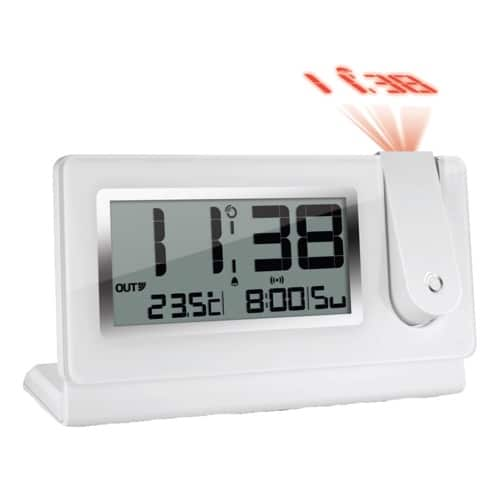 Slim Line Projection Clock With Thermometer