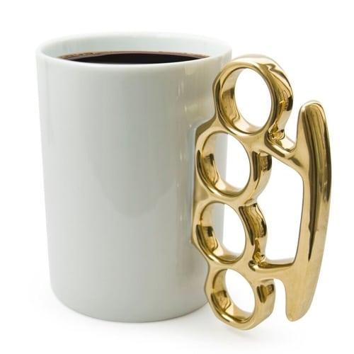 Knuckle Duster Mug – Gold & White