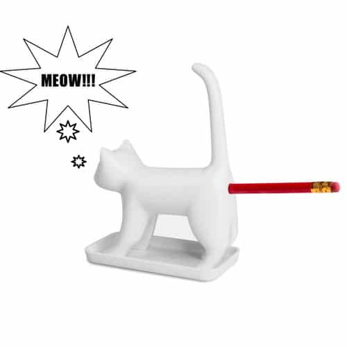 Sharp End Cat Pencil Sharpener - White