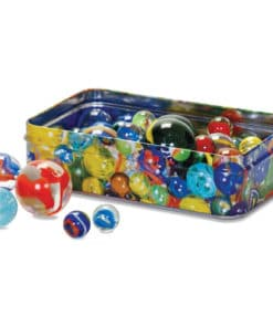 Traditional Set of Marbles in a Tin