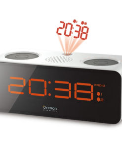 Projection Alarm Clock with FM Radio - White