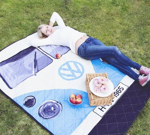 VW Camper Van Picnic Blanket - Blue