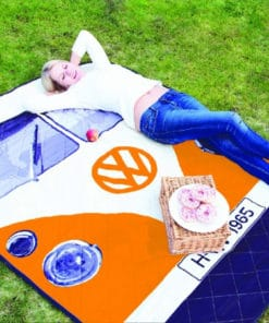VW Camper Van Picnic Blanket - Orange