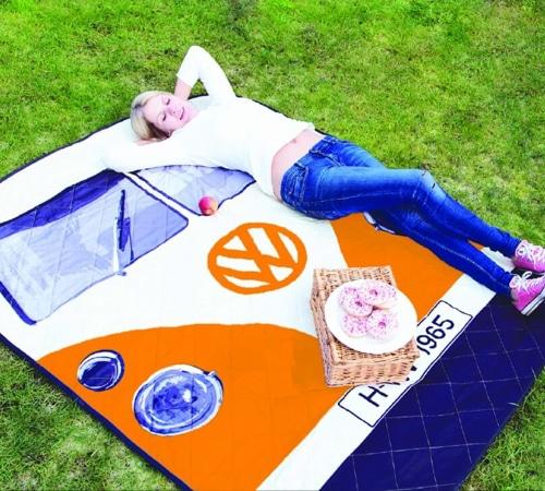 VW Camper Van Picnic Blanket - Orange