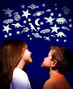 Cosmic Glow in the Dark Moon and Stars