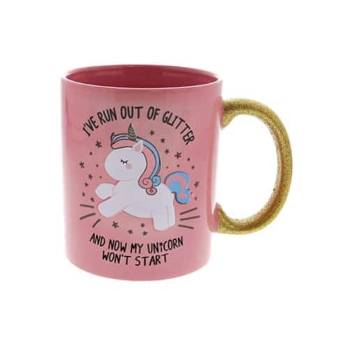 Unicorn Glitter Handle Mug
